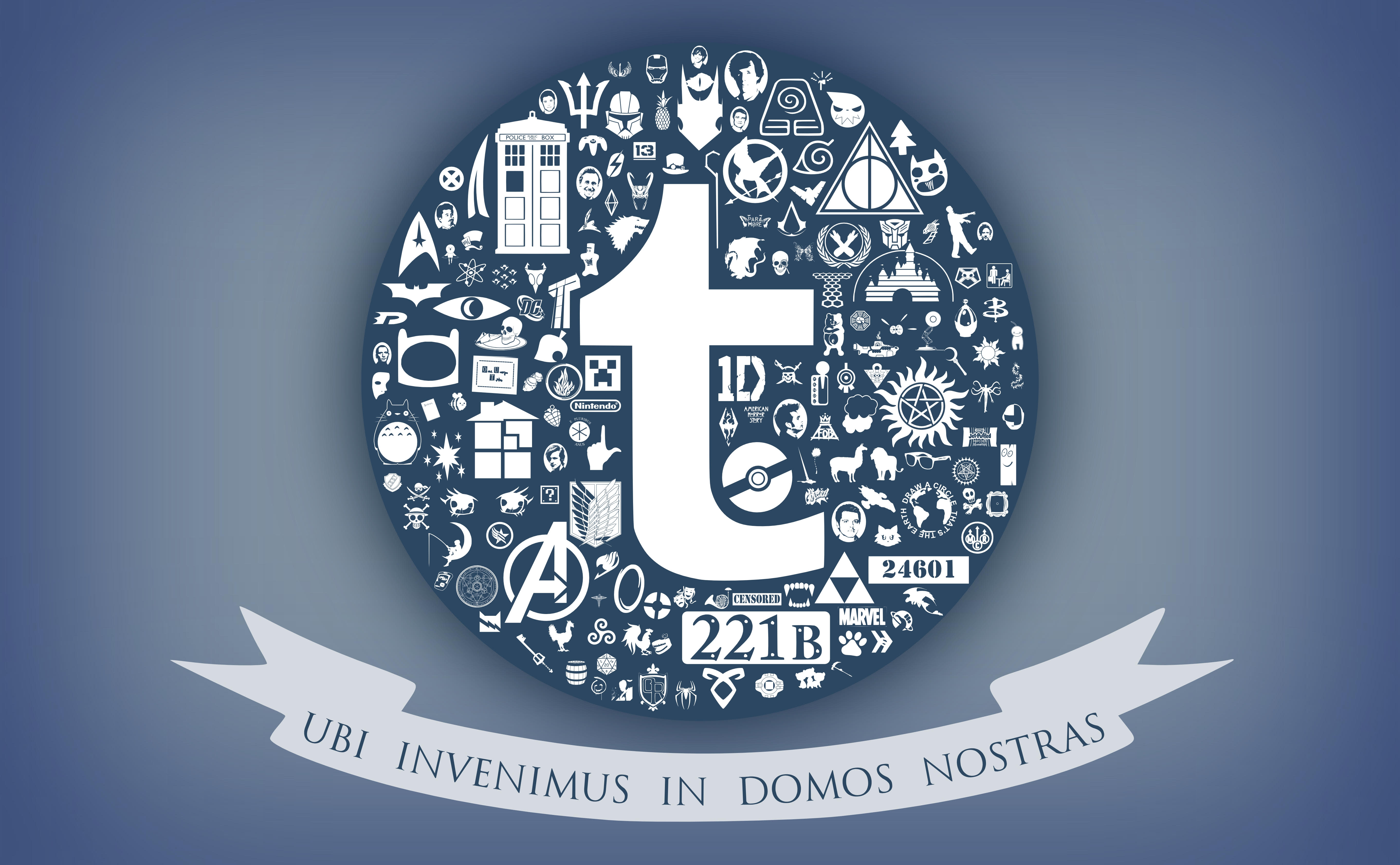 "Tumblr-blue image with symbols of various fandoms surrounding a lowercase t in Tumblr's font. Text underneath reads ""Ubi invenimus in domos nostras"" (Here we found our homes)."