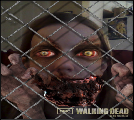 A photograph of a person with long, straight, brown hair behind a mesh fence. Their hands, clawlike, are hooked through the mesh. The person's eyes are red and yellow, and the lower half of their face is bloody and rotted away, resembling a zombie. In the bottom right corner is the Walking Dead: Dead Yourself app logo.