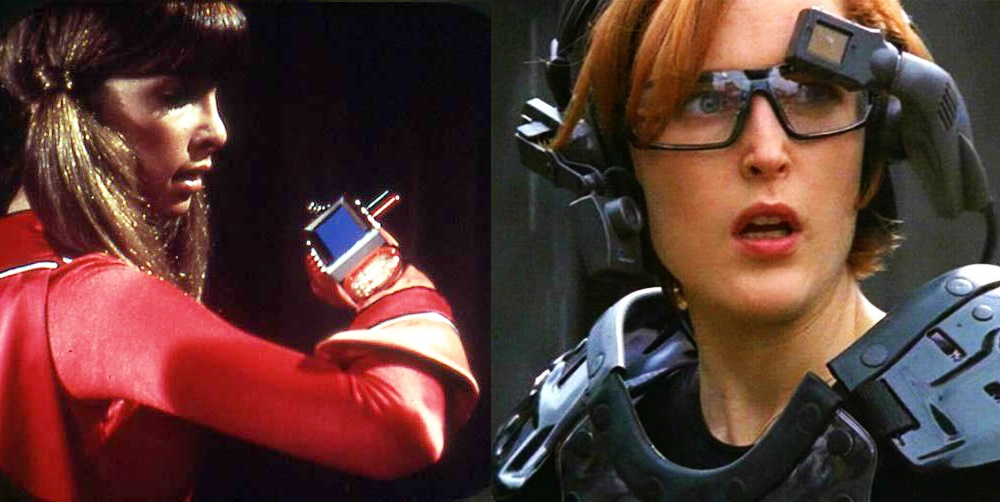 Side-by-side stills of Dyna Girl speaking to wrist mounted ElectraCom screen and Dana Scully dressed in AR headset and gaming gear.