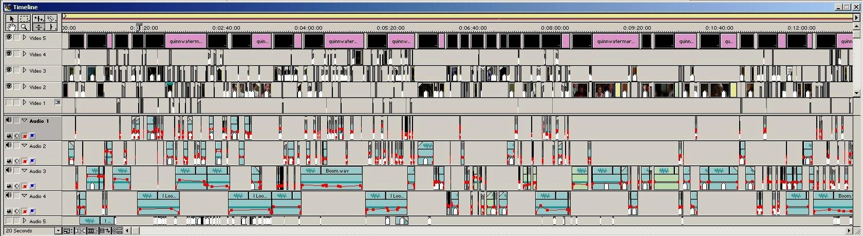 Computer screen labeled Timeline showing complex interplay of multiple streams of data, including 5 video streams and 5 audio streams, horizontally across the screen.