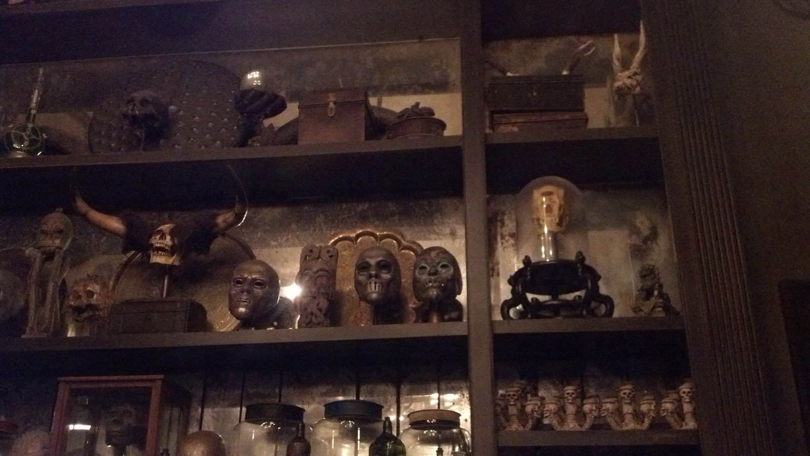 Death Eater masks, skulls, and miscellanea in the Borgin and Burkes shop in Knockturn Alley, December 2015.