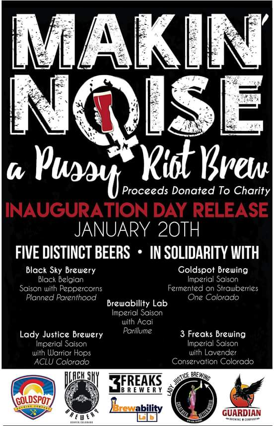 Release Day poster for MAKIN' NOISE, a Pussy Riot Brew.