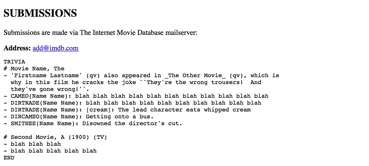 Process and template for trivia submissions to the Internet Movie Database