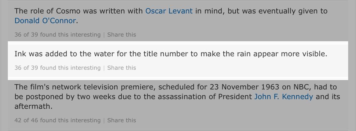 IMDb trivia page showing false ink fact