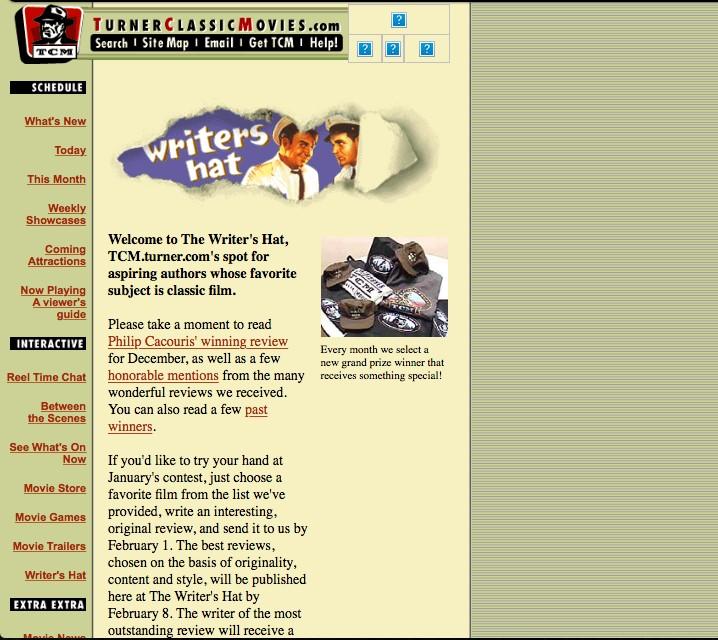 Screenshot of Writer's Hat web site