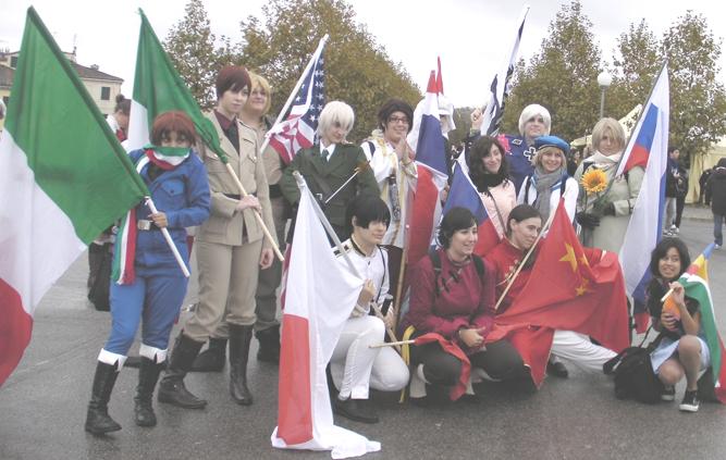 Photograph of Hetalia cosplay group posing.