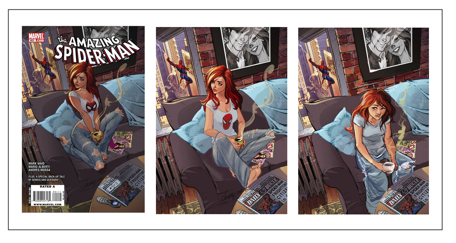 Figure 4. J. Scott Campbell's original cover of The Amazing Spider-Man  #601, and two covers that attempt a more realistic depiction of Mary Jane  (artists ...