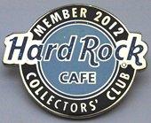 Pin reading 'Hard Rock Cafe Member 2012 Collectors' Club'.