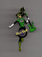 Pin in the shape of a female wearing a superhero costume in green and holding a guitar.