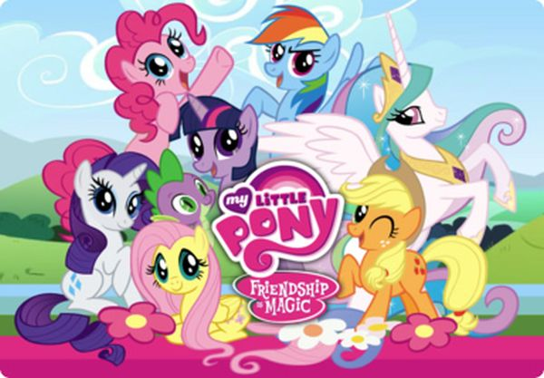 Several ponies in a playful pose behind a logo for My Little Pony: Frienship Is Magic