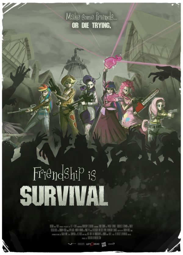 Mocked-up movie or video game poster of ponies fighting zombies with the tagline: Friendship is Survival