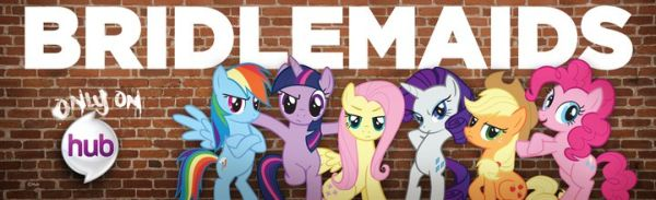 Ponies leaning against a wall in a parody of the film Bridesmaids