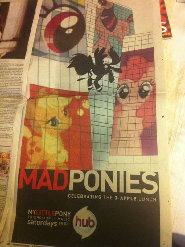Newspaper ad done in the style of Mad Men, reading: MADPONIES. Celebrating the 3-apple lunch. My Little Pony, Friendship is Magic, saturdays on the hub.