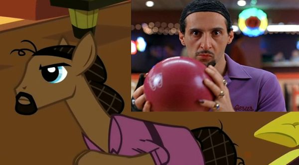 Pony version of The Jesus, with comparison shot of John Tuturro from The Big Lebowski.