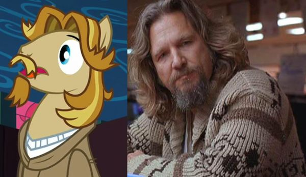 The Dude as a horse, with comparison shot of Jeff Bridges from The Big Lebowski.