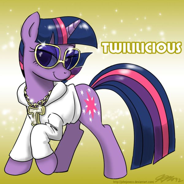 Purple pony with sunglasses and a chain with a T on it, with the label: Twililicious.