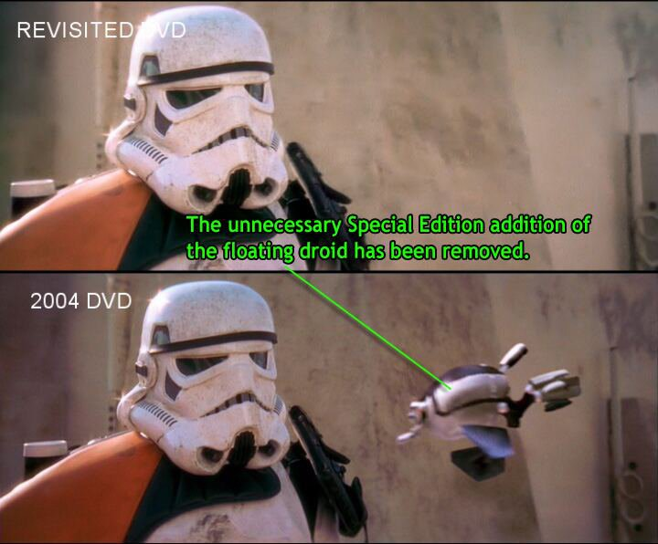 Split-screen image comparing two shots of a storm trooper. Top image labeled REVISITED DVD. Bottom image labeled 2004 DVD. Droid appearing in bottom image (but not top image) labeled with the following: 'The unnecessary Special Edition addition of the floating droid has been removed.'