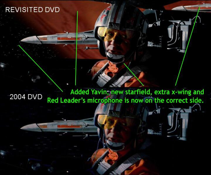 Split-screen image comparing two shots of a rebel pilot in an X-Wing cockpit. Top image labeled REVISITED DVD. Bottom image labeled 2004 DVD. Items added to top image are labeled with the following: 'Added Yavin, new starfield, extra x-wing and Red Leader's microphone is now on the correct side.'