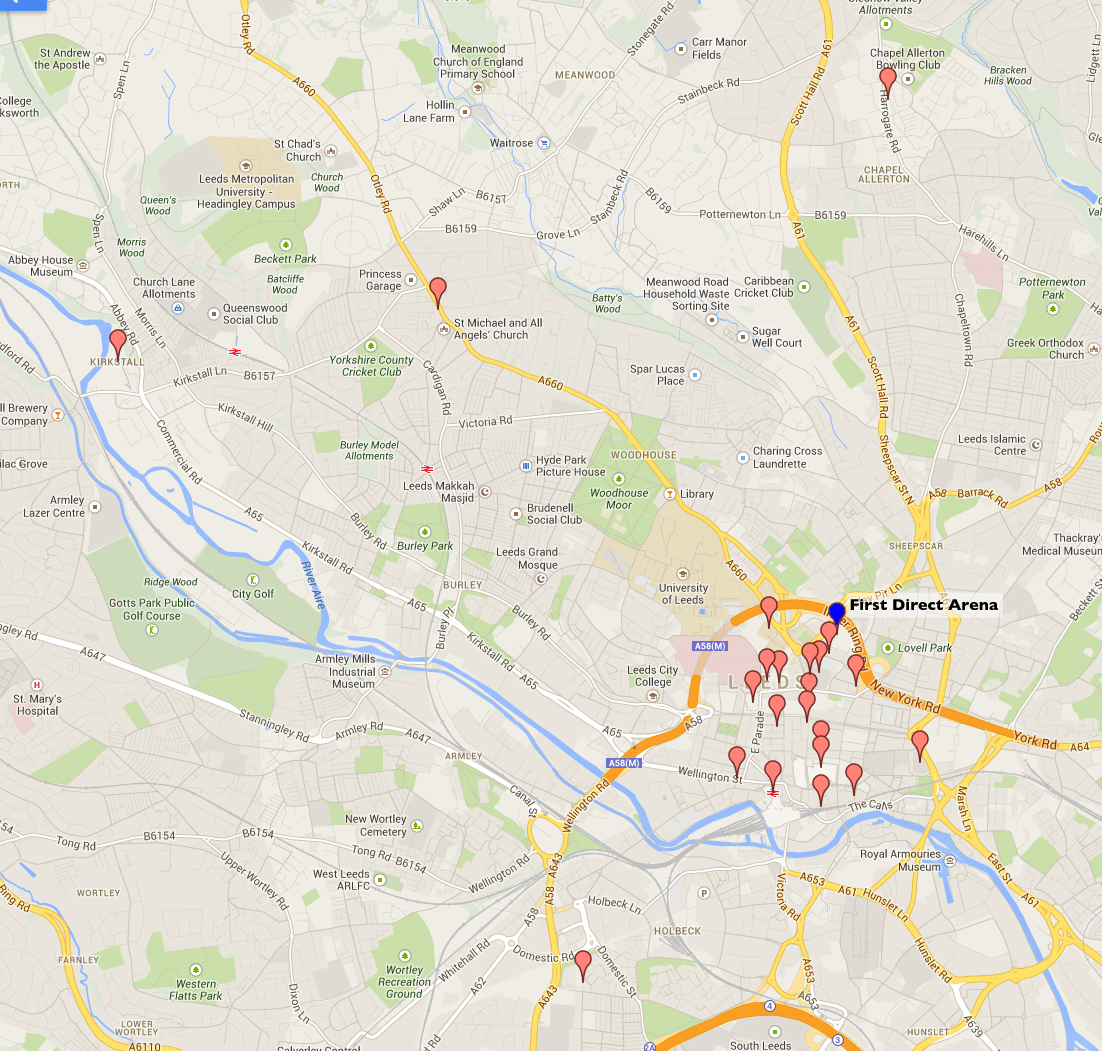 Map of locations of businesses and civic organizations that tweeted using the #bruceleeds hashtag.