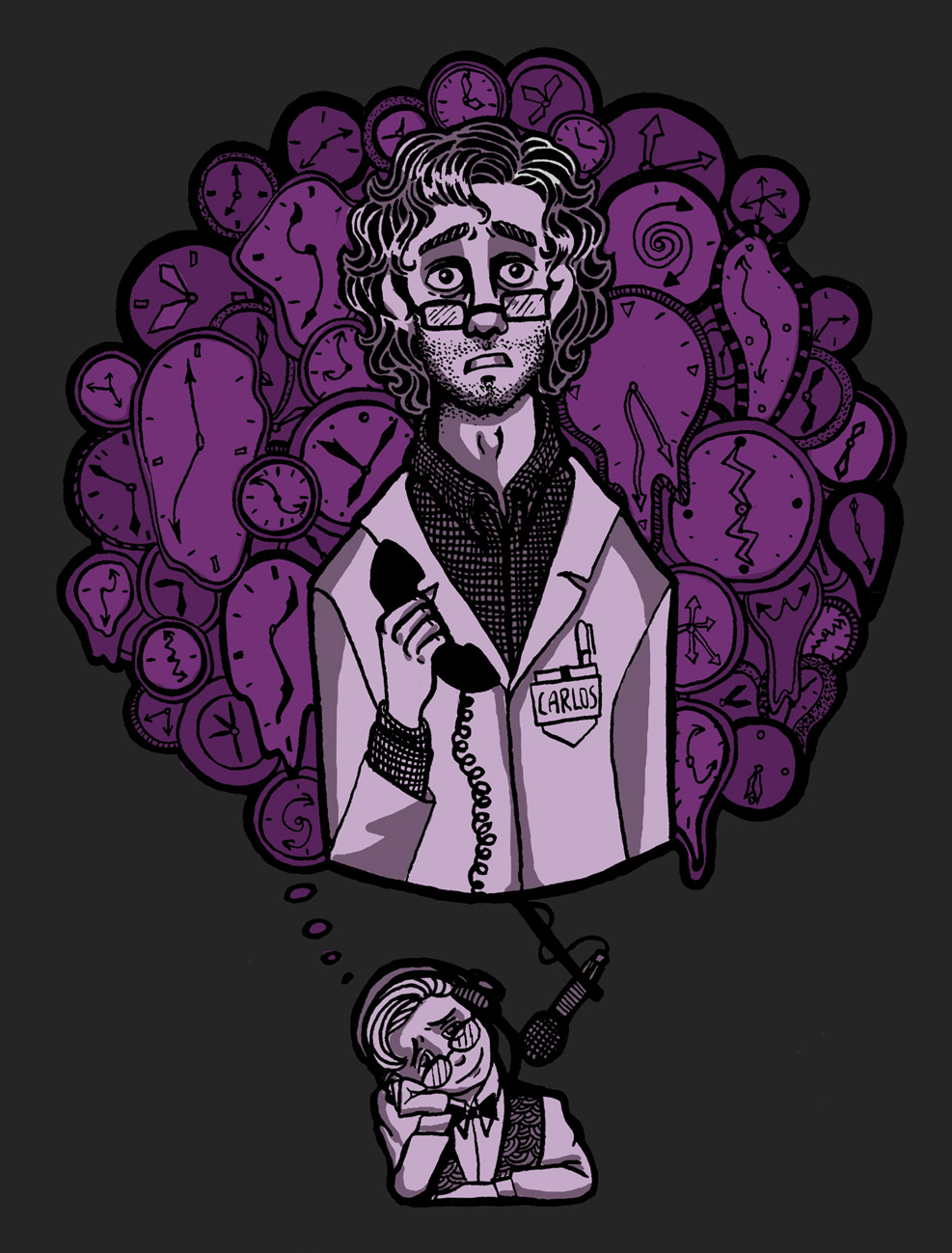 Drawing of curly-haired man (Carlos) with stubble holding a telephone receiver and looking aghast, superimposed over a bunch of purple melting clocks. The curly cord of the receiver dangles down, where the cord turns into a large microphone. A man, head tilted on hand (Cecil), waits before the microphone wearing headphones. He wears glasses, a bowtie, a button-down shirt, and a vest.