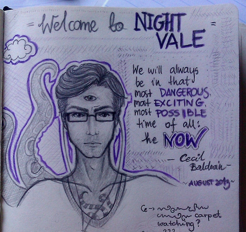 Photo of sketch book opened to a drawing of Cecil, portrayed as a white man with wavy hair, a third eye in the middle of his forehead, glasses, and two tentacles rising up behind is right shoulder. Text reads, 'Welcome to NIGHT VALE. We will always be in that most DANGEROUS most EXCITING most POSSIBLE time of all: the NOW. —Cecil Baldwin, August 2013.'