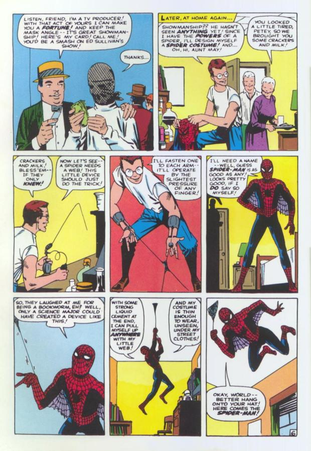 Image of a single comic book page showing Peter Parker designing Spider-Man apparatus and naming himself Spider-Man.