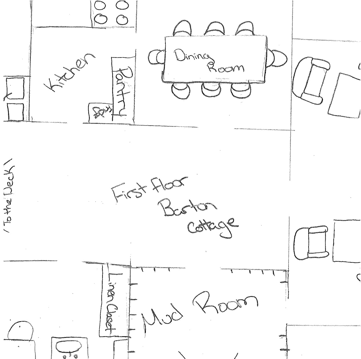 Detailed drawing of floor plan for Sense and Sensibility in High School (2014).