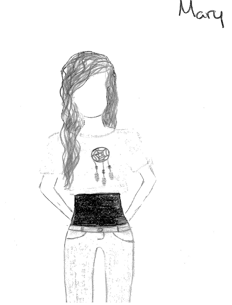 Drawing of Mary wearing a cropped top with jeans, from Sense and Sensibility in High School (2014).