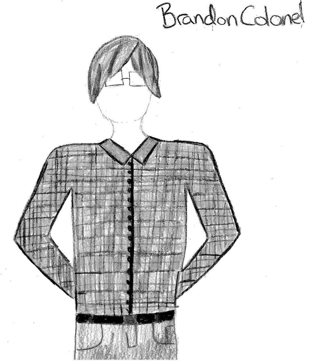 Drawing of Brandon wearing a plaid button-up shirt and glasses, from Sense and Sensibility in High School (2014)