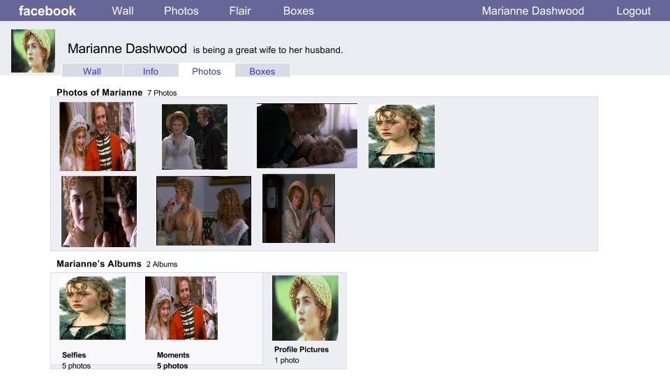 Elizabeth's Facebook page for Marianne (2014) showing photos from Sense and Sensibility (1995).