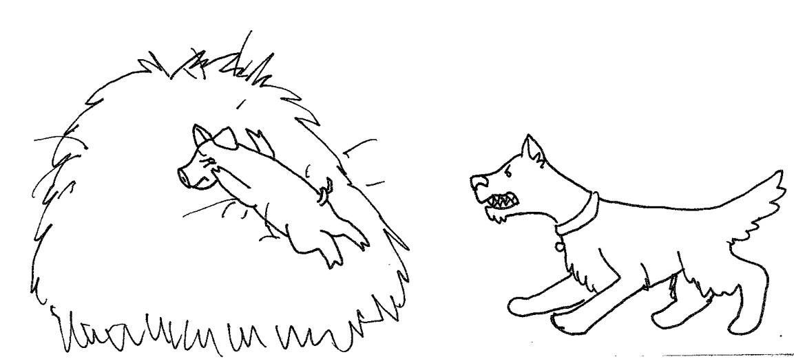 Image of Mr. B, a dog, barking at a frightened Hamela, a pig.