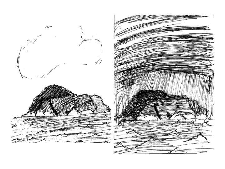 Images of island at beginning and end of Lordless (2014).