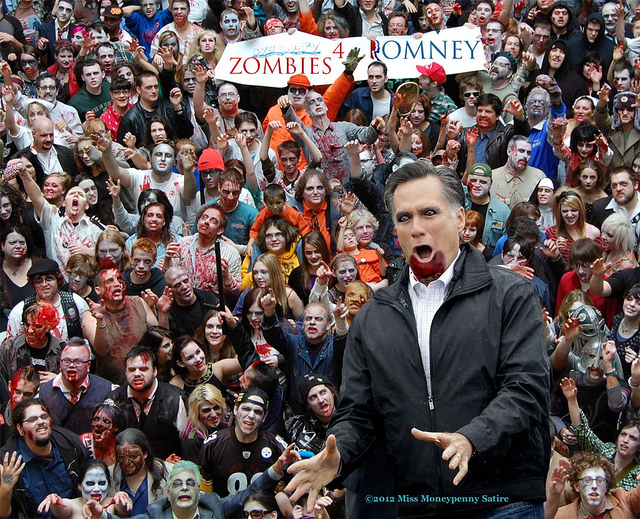 Color image of a dense crowd of zombies holding up a 'ZOMBIES 4 ROMNEY' banner, with a Romney zombie in the foreground.