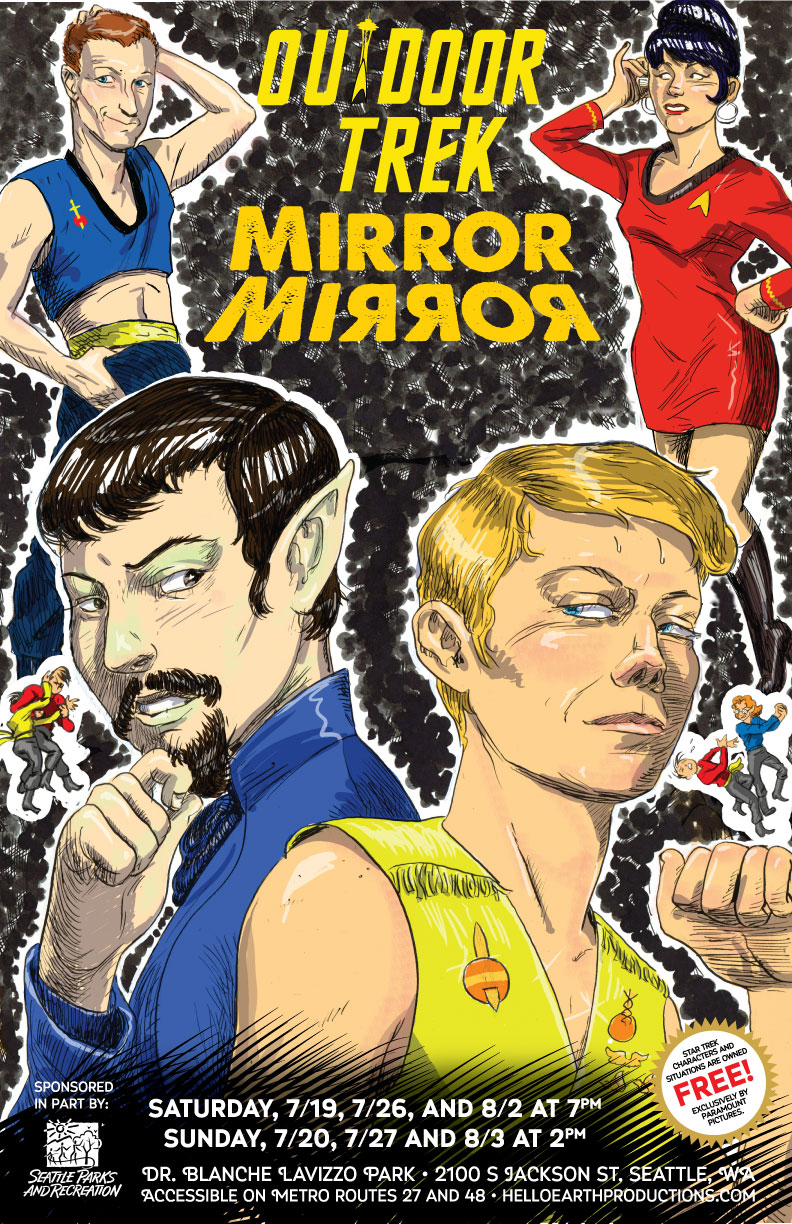 Color poster with cartoon figures of cast figures dressed as Trek characters. Titled 'OUTDOOR TREK MIRROR MIRROR.' Lines at the bottom give dates, times, and directions.