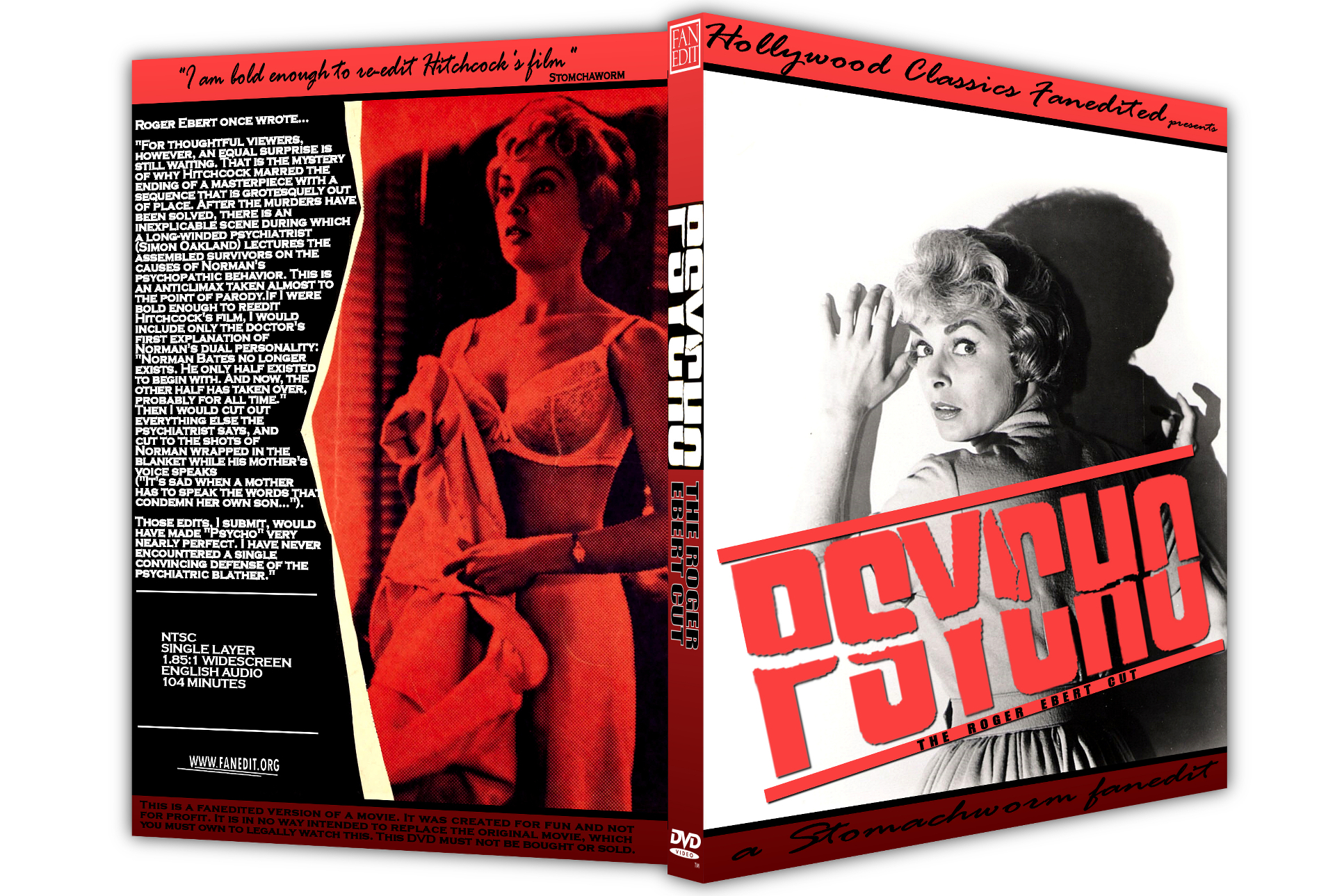 Mockup of a custom DVD box for Stomachwom's Psycho featuring two images from the film and bold red Psycho across the front.