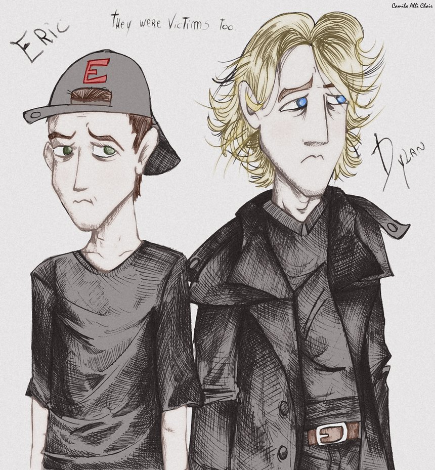 A fan's drawing of Eric and Dylan with the caption 'They were victims too'.