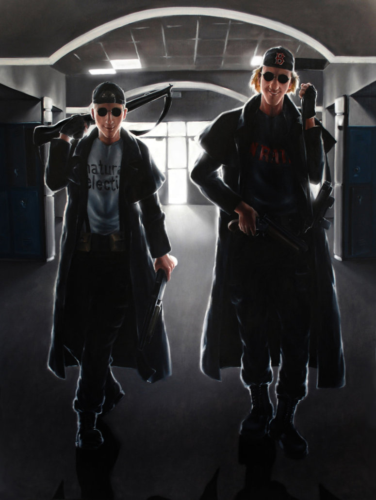 A piece of fan art featuring Eric and Dylan in trenchcoats and sunglasses carrying guns.