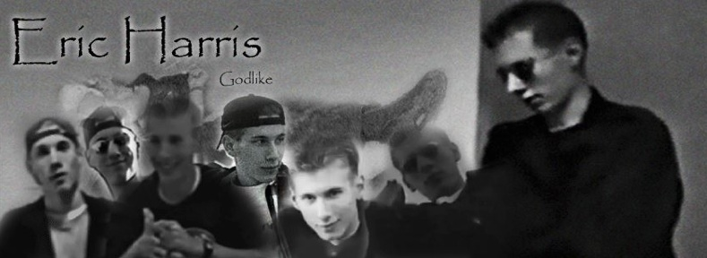 A collage of images of Eric with the catpion 'Eric Harris Godlike'.
