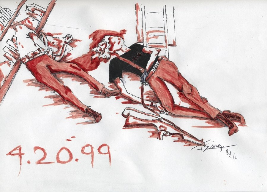 A graphic fan art rendering of Eric and Dylan's deaths with the date 4.20.99 written on it.