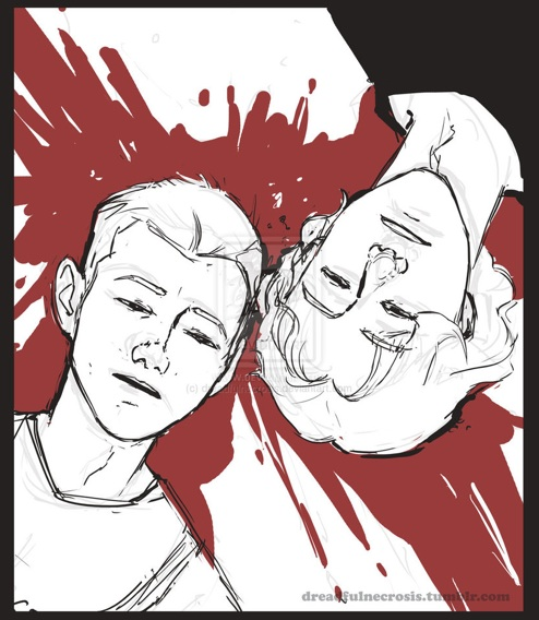 An artistic rendering of Eric and Dylan's deaths, with their bodies parallel and heads placed side by side.