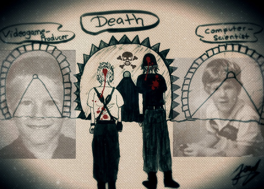 Childhood photos of Eric and Dylan over laid with a fan art rendering of their deaths and the caption 'Videogame-Producer; DEATH; Computer-scientist'.