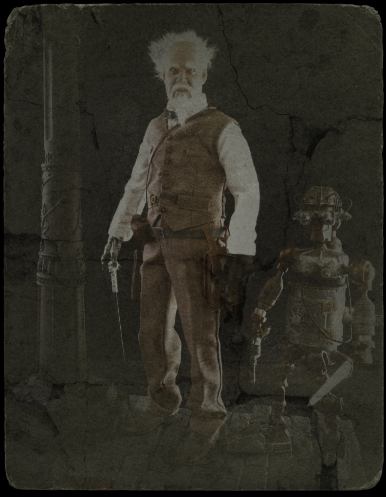 Steampunk versions of Gepetto and Pinocchio. Image altered by zebraten to look old-fashioned and aged.