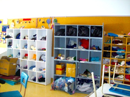 Classroom with cubbies.