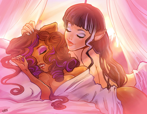 Clawdeen and Cerise Hood ship. Drawing of characters in bed together, embracing. Pink background and color scheme.