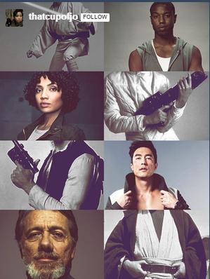 Star Wars fan cast, featuring actors Michael B. Jordan, Jasika Nicole, Daniel Henney, and Edward James Olmos.