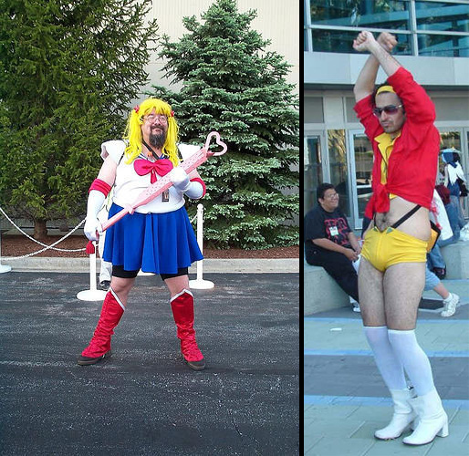 Sailor Buuba and Main Faye, posing while in cosplay as Sailor Moon and Faye Valentine.
