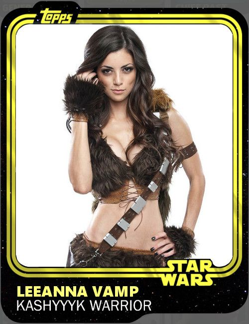 "Trading card depicting a woman in skimpy leather and fur armor, framed by a gold border reading ""TOPPS"" in the upper left corner, and ""STAR WARS"" in the lower right. The card's caption reads ""LEEANNA VAMP. KASHYYYK WARRIOR"""