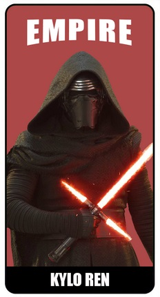"Card featuring Kylo Ren holding his lightsaber on a red background, with the word ""EMPIRE"" at the top, and the caption ""KYLO REN"" underneath."