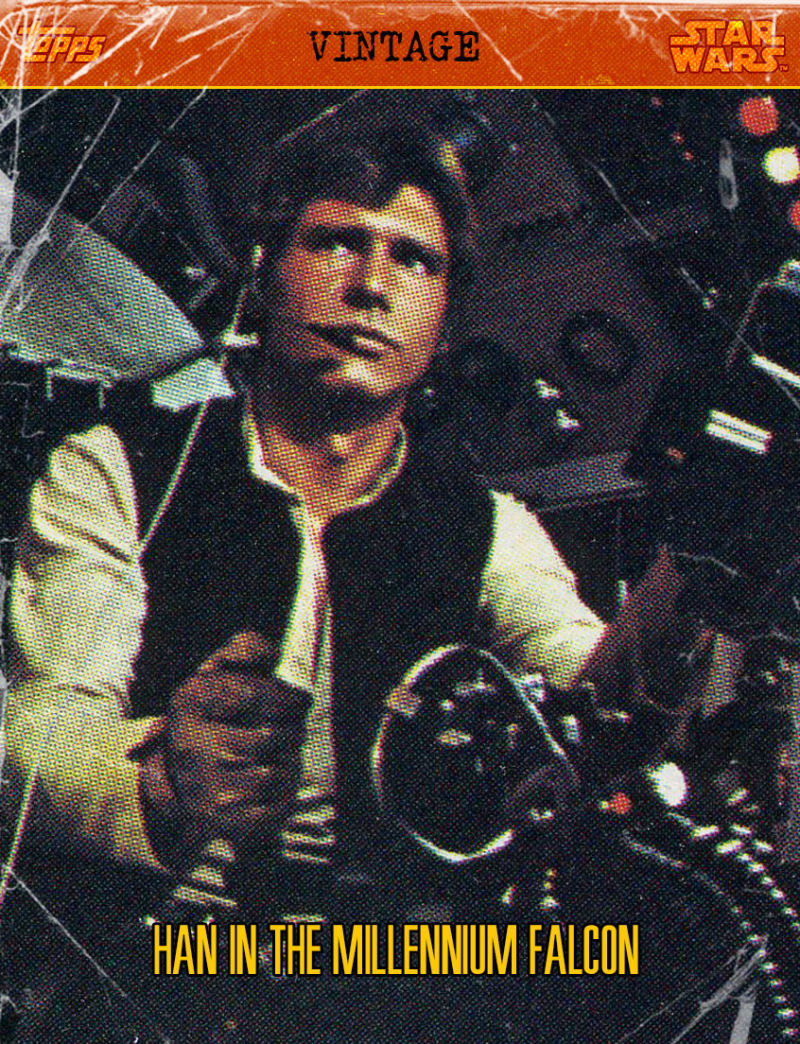"A creased trading card featuring a man seated at a spaceship's controls. The top reads ""TOPPS, VINTAGE, STAR WARS"", and the card's caption reads ""HAN IN THE MILLENNIUM FALCON."""
