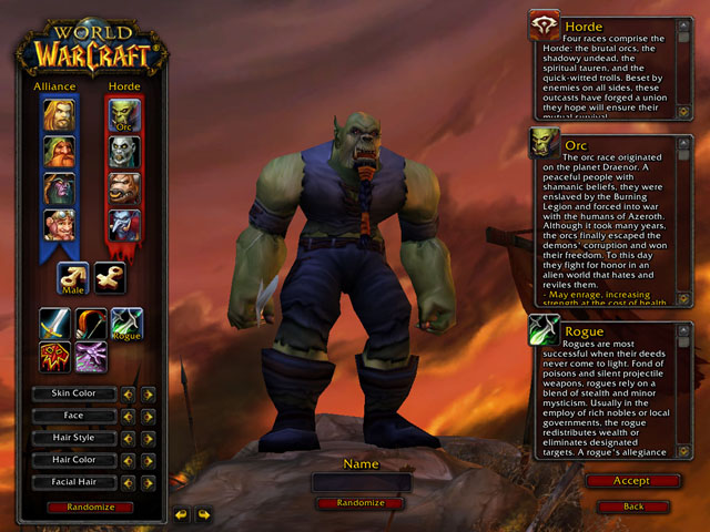 Figure 1 World Of Warcraft Character Creation Screen Featuring A Male Orc Rogue Summer 2006
